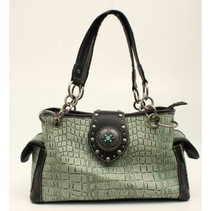Nocona Desiree Croc And Concho Bling Satchel