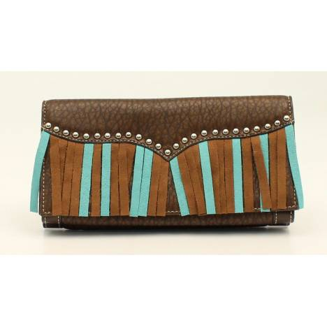 Nocona Jolie Nailhead And Fringe Flip Over Wallet