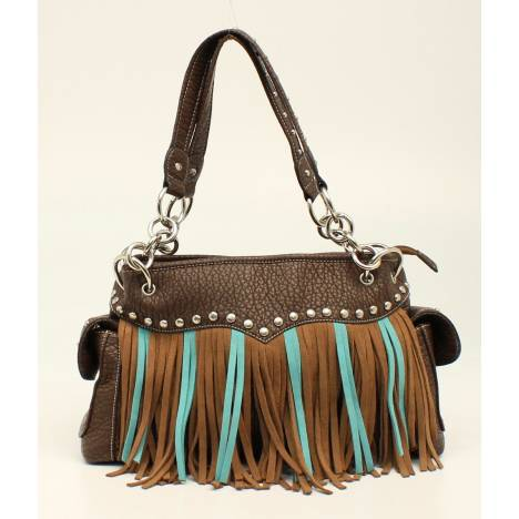 Nocona Jolie Nailhead And Fringe Satchel