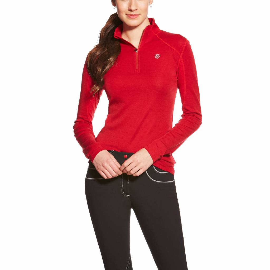 Ariat Cadence Wool 1/4 Zip - Ladies - Rouge Red