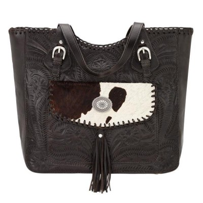 American West Annies Secret Collection Large Zip Top Tote With Secret Compartment-Ladies