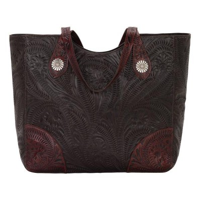 American West Annies Secret Collection Large Hand Tooled Zip Top Conceal Carry Bag