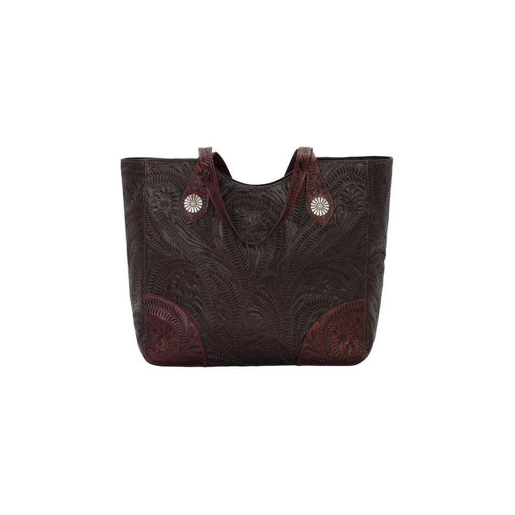 American West Annies Secret Collection Large Hand tooled Zip Top Conceal Carry Tote-Ladies