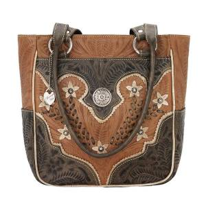 American West Desert Wildflower Zip Top Tote With 3 Outside Pockets