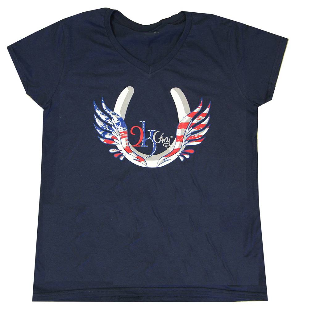 2kGrey USA Flying Hoof Tee Shirt - Ladies