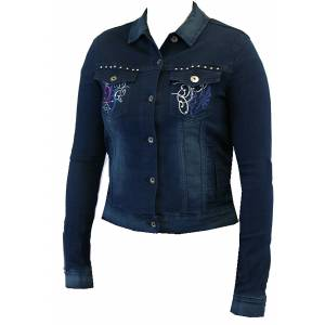 2kGrey Denim Embroidered Jacket - Ladies
