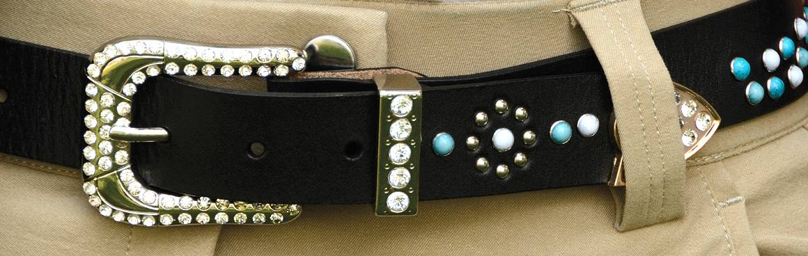 2KGrey Leather Belt with Turquoise Stones and Crystals Ladies