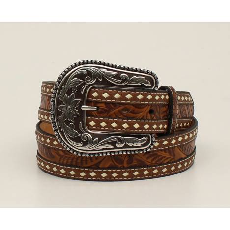 Blazin Roxx Buckstitch Lace Embossed Strap Belt - Ladies