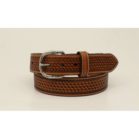 Nocona Top Hand Basketweave Embossed Edged Tab Belt - Mens
