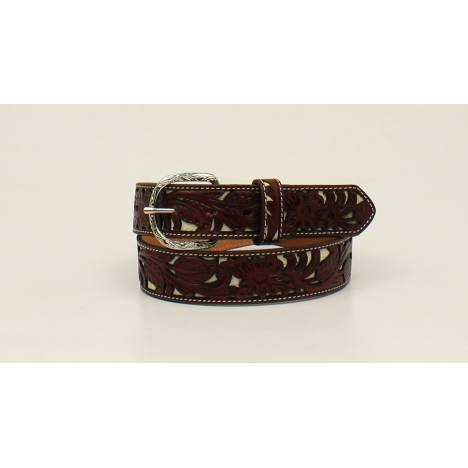 Nocona Top Hand Floral Pierced Overlay Belt - Mens