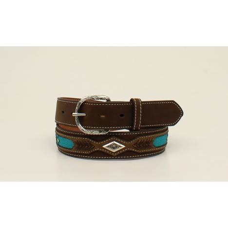 Nocona Mens Top Hand Ribbon Overlay Diamind Concho Belt - Mens