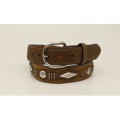 Nocona Diamond Scroll Concho Top Hand Scallop Overlay Belt - Mens