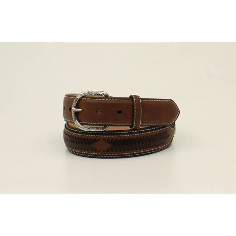 Nocona Top Hand Circle Concho Contrast Laced Overlay Belt - Mens