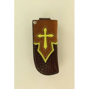 Nocona Pocket Knife Sheath With Cross Overlay