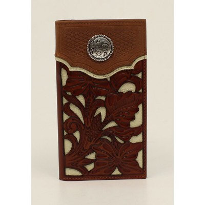 Nocona Floral Overlay Basketweave Rodeo Wallet