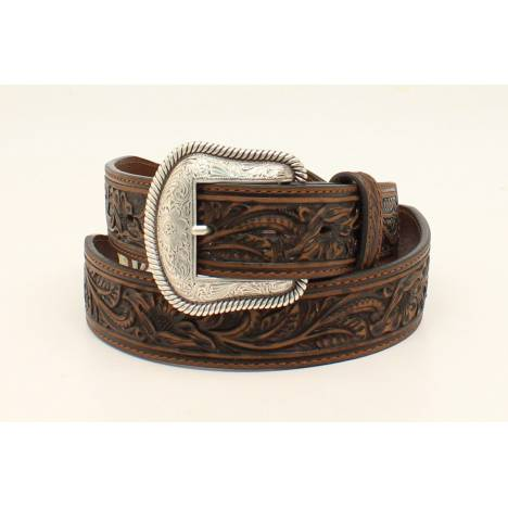 Nocona Starburst Concho Embossed Two Scallop Belt - Mens