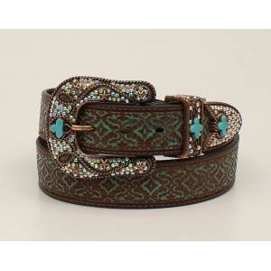 Nocona Embossed Buckle And Belt Set - Ladies