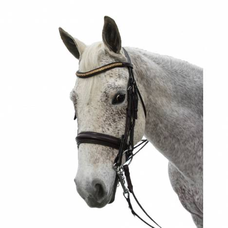 Exselle Elite Plain Raised Padded Rolled Leather Double Bridle with Extra Brow