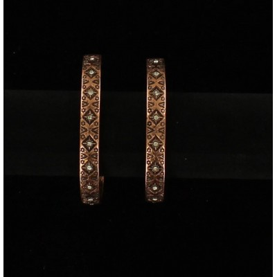 Blazin Roxx Aztec Hoop Rhinestone Earrings