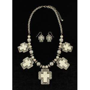 Blazin Roxx Silver And Stone Crosses Beaded Necklace And Earrings Set