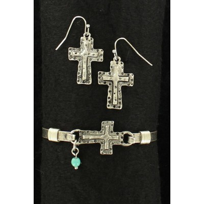 Blazin Roxx Hammered Cross Bracelet And Earring Set