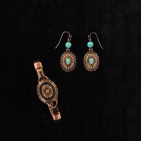 Blazin Roxx Floral Concho and Stone Bracelet and Earring Set