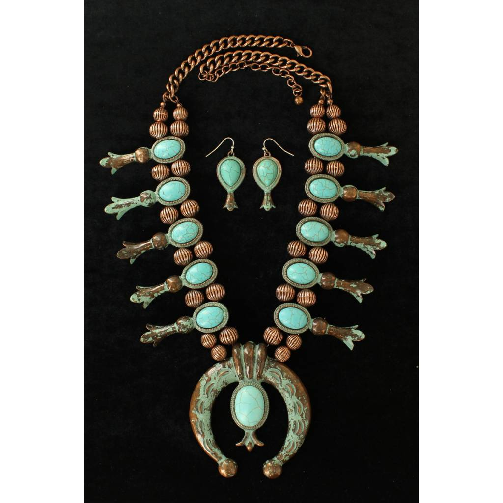 cb4f601f2 Blazin Roxx Large Squash Blossom Necklace And Earrings Set