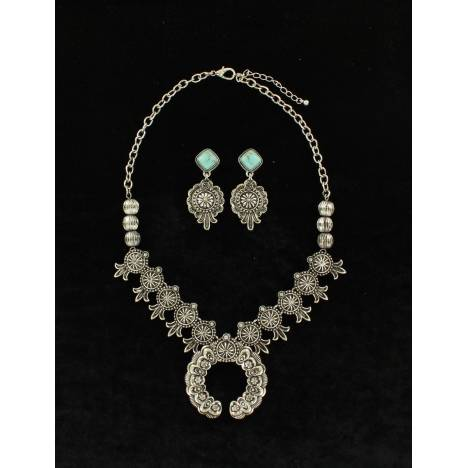 Blazin Roxx Dainty Squash Blossom Necklace And Earrings Set