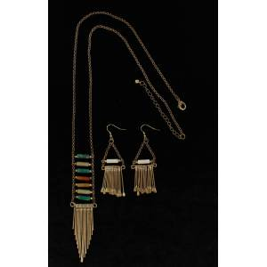 Blazin Roxx Colored Stone And Metal Fringe Necklace And Earrings Set