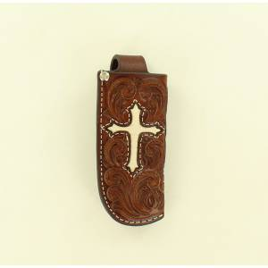 Nocona Cross Embellished Pocket Knife Sheath
