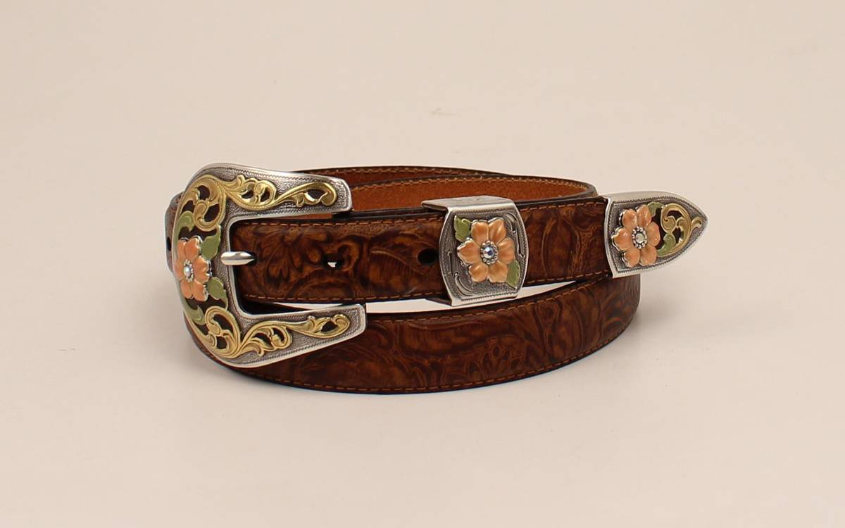 e57ef645595 Ariat Ladies Floral Embossed Buckle And Belt Set