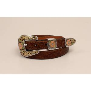 Ariat Ladies Floral Embossed Buckle And Belt Set