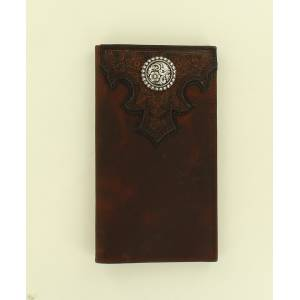 Ariat Rodeo Embossed Scrolled Overlay Concho Wallet