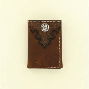 Ariat Embossed Scrolled Overlay Concho Tri-Fold Wallet