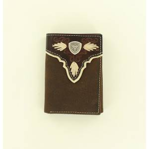 Ariat Overlay Shield Concho Tri-Fold Wallet