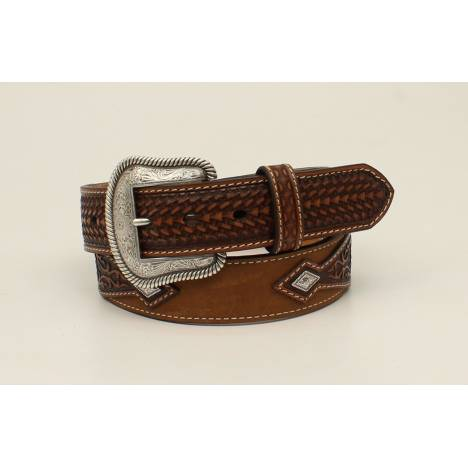 Nocona Mens Embossed Overlay Diamond Concho Belt