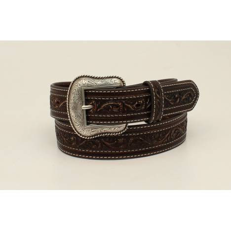 Nocona Mens Embossed Cross Overlay Belt