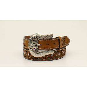 Nocona Ladies Nailhead Design Rhinestone Underlay Belt