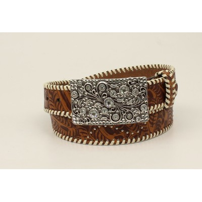 Nocona Ladies Embossed Nailhead Lace Edge Belt