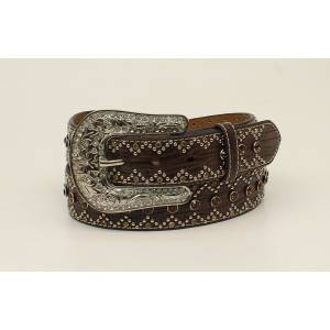 Nocona Ladies Croco Rhinestone And Nailhead Belt And Buckle