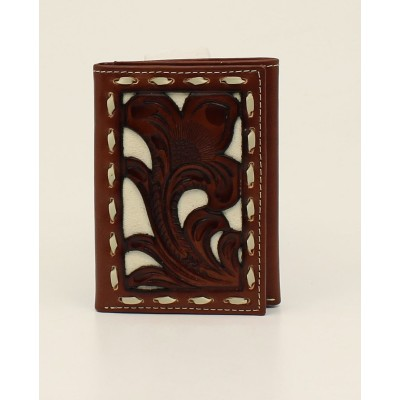 Nocona Pierced Overlay Laced Tri-Fold Wallet