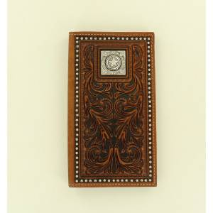 Nocona Rodeo Scroll Embossed Nailhead Star Concho Wallet