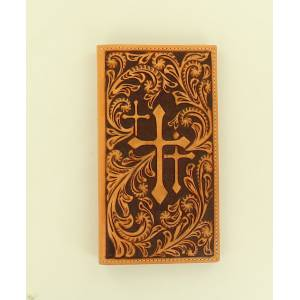 Nocona Rodeo Scroll Embossed Three Cross Wallet