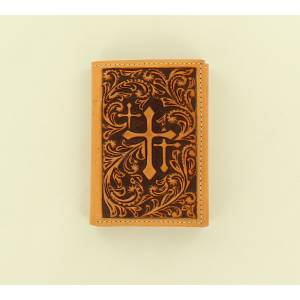Nocona Scroll Embossed Three Cross Tri-Fold Wallet