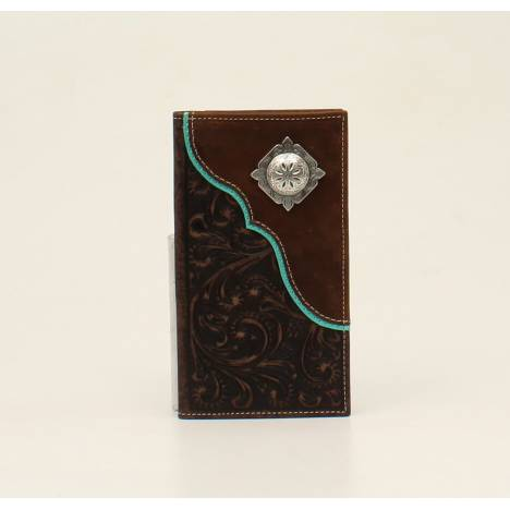Nocona Rodeo Scroll Embossed Overlay Concho Wallet
