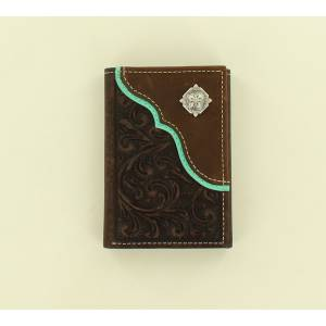 Nocona Scroll Embossed Overlay Concho Tri-Fold Wallet