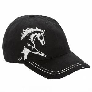 Lila Blakeslee Embroidered Extended Trot Cap - Ladies - Black