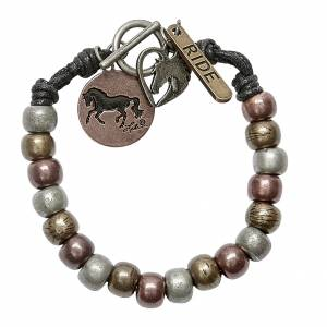 Mixed Metal Bead Horse Charm Bracelet