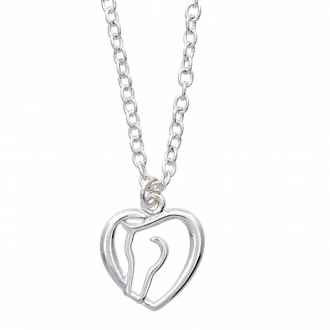 Hearts & Horses Horse Head Heart Necklace