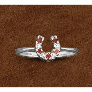 Kelly Herd Silver Horseshoe Ring - Ladies - Red